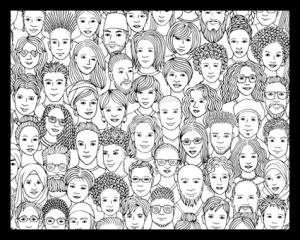 caras dibujadas en un marco negro